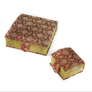NEW-2 Pcs Brocade Covered Decorative Jewelry Boxes